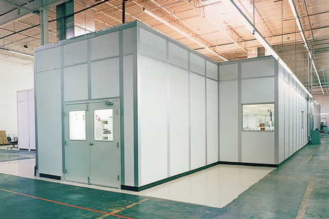 prefabricated white office building