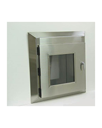 stainless steel box with glass front door