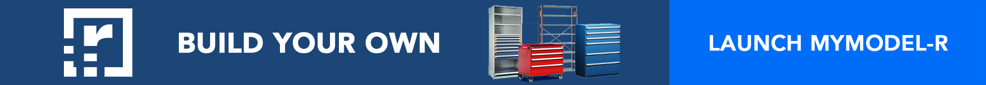 blue banner with storage shelves and cabinets