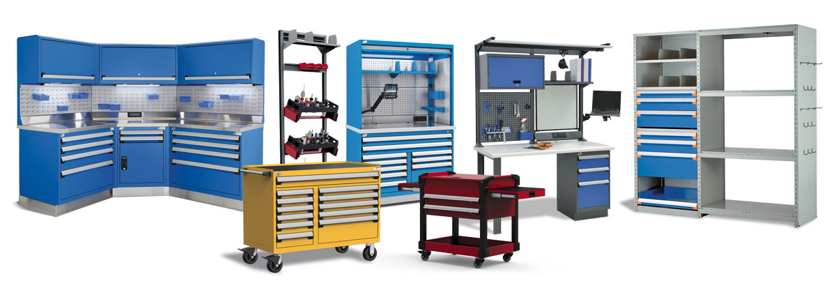 storage carts and workbenches