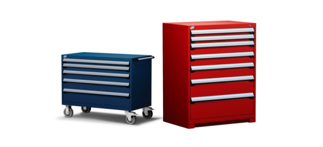 red and blue cabinets